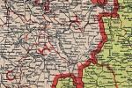Historická hranice Čech a Moravy na historické mapě.