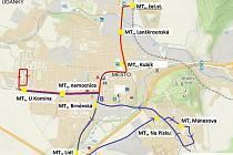 Plánované trasy městské hromadné dopravy v Moravsé Třebové.