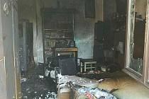 Požár domku v Morašicích.