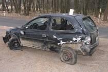 U obce Pustá Rybná havarovala řidička s vozidlem Opel Corsa.