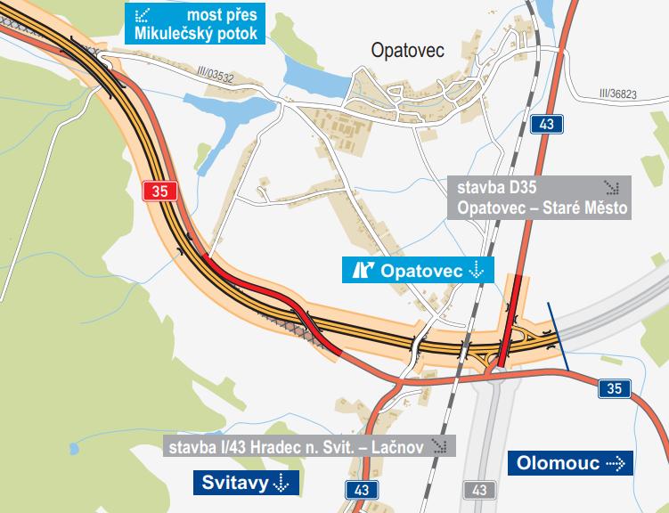 Detail úseku dálnice D35 u Svitav