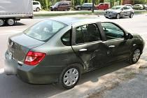 Poškozené vozidlo.