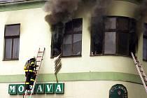 Požár hotelu Morava v Moravské Třebové.