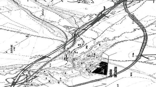 Reprofoto: ZLEVA, NEBO ZPRAVA? Podle studie je lepší jihozápadní obchvat Cerekvice (oblouk vpravo), než schvalovaná trasa (rovná trasa vlevo).