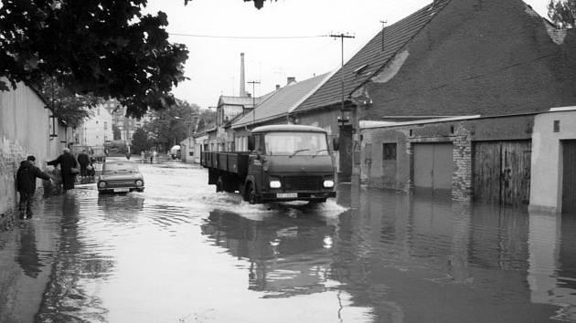 Svitavy zasažené povodní v roce 1997.