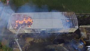 Požár seníku v Opatovci