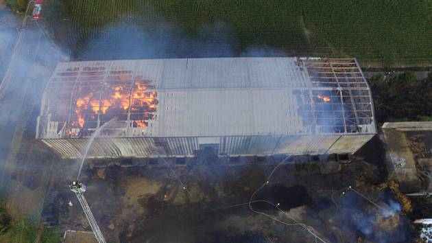 Požár seníku v Opatovci.