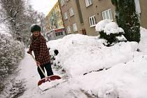 Věra Pavlišová odklízí sníh před bytovým domem. Úklidovou službu má jednou za tři měsíce.