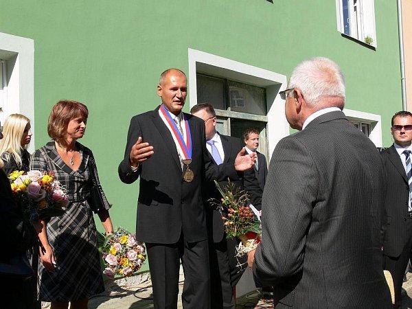 Prezident Václav Klaus vBřezové nad Svitavou.