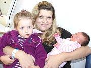 TEREZA HEGEROVÁ. Přišla na svět 30. září v 10.58 hodin. Vážila čtyři kilogramy a měřila 52 centimetrů. S rodiči Petrou a Dušanem a dvouletou sestřičkou Adélkou bydlí v Moravské Třebové.