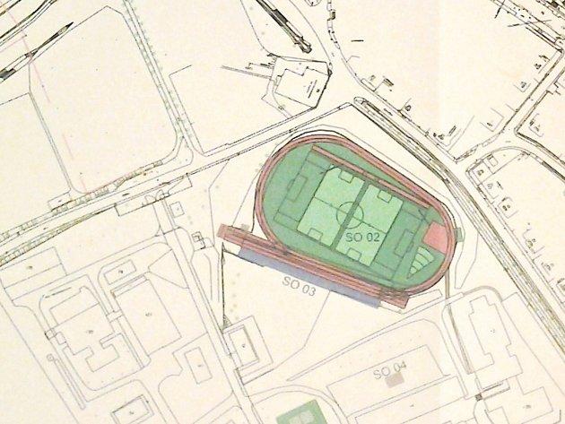 Běžecká dráha bude mít povrch třetí generace. Specifický tvar je dán velikostí prostoru v areálu školy.