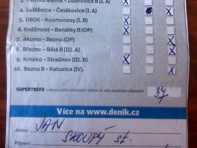 Tiket Jana Skoupého z posledního kola