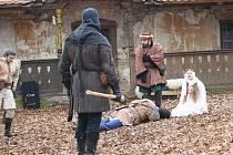 Zimní historická bitva s motivy Vančurovy Markéty Lazarové na zámku Stránov.