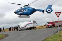 Vážná nehoda u Židněvsi. Zasahovat musel i vrtulník.