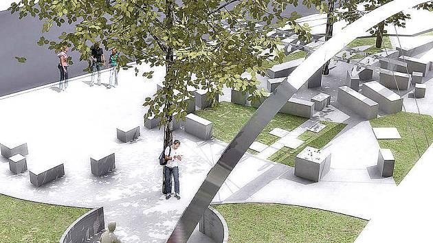 Tak si pomník a celé zpracování prostoru poblíž Bezručovy ulice představuje architekt.