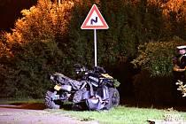 Havárie čtyřkolky na Mladoboleslavsku 21. září 2019.