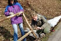 Ekologové u Podhradské tůně postavili desítky metrů dlouhé bariéry bránící obojživelníkům ve vstupu na vozovku.