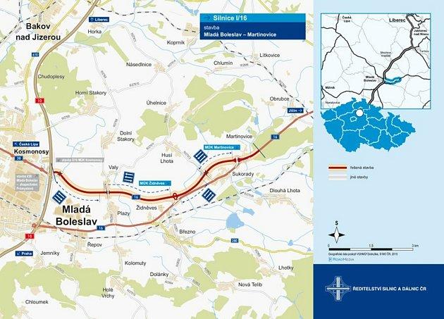ŘSD plánuje přeložku silnice I/16 zMartinovic do Mladé Boleslavi.