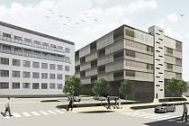 Nový parkovací dům u nemocnice - vizualizace.