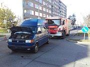 Dopravní nehoda v Palackého ulici v Mladé Boleslavi.