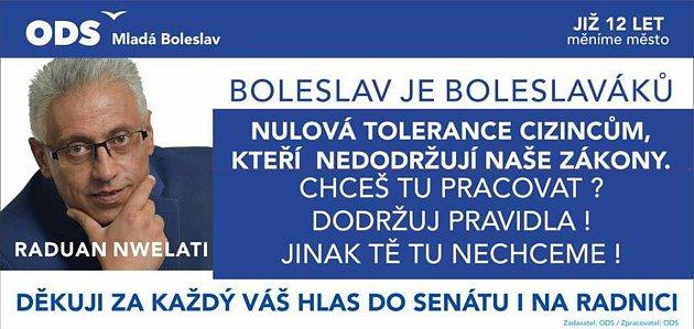Návrh billboardu kpředvolební kampani, jak jej představil na svém facebooku Raduan Nwelati