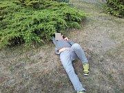 Opilec na zahradě školy Na Celně.