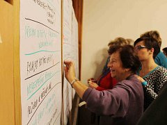 OBČANÉ po diskusi lepili barevné štítky na připravené listy. Vyjadřovali tím větší prioritu vyslovených názorů.