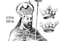 Výřez z grafického listu vydaného u příležitosti 700. výročí narození Karla IV.