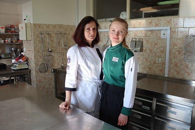 Jana smistrovou Alenou Pechlátovou ve školní pekárně vHorkách