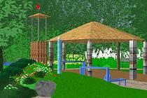 Vizualizace: Kopeček s pumpou, pod nímž bude nora, se tyčí vedle větrné věže a ohnivé chýše.