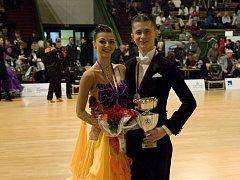 Taneční pár oddílu TK Rytmus Bakov nad Jizerou Vít Domorád a Simona Tejcová