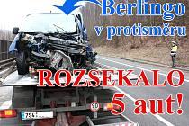 Hromadná dopravní nehoda na silnici I/38 mezi Debří a Hrdlořezy nedaleko Mladé Boleslavi.