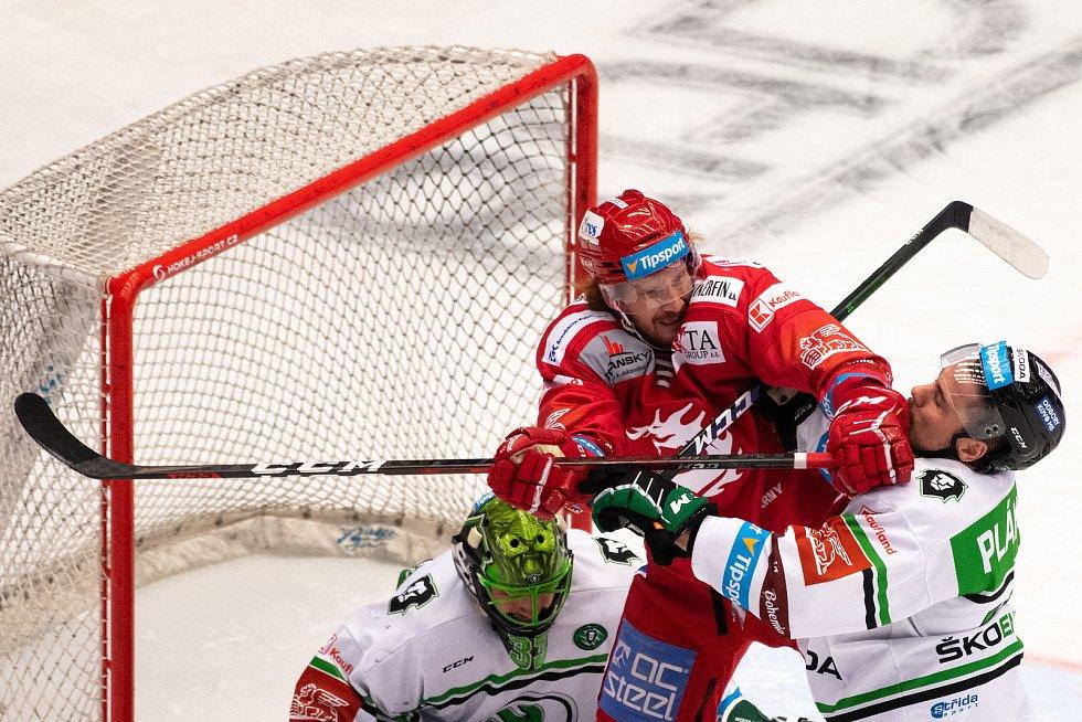 Utkání 2. kola semifinále play-off Generali České pojišťovny mezi HC Oceláři Třinec a BK Mladá Boleslav.