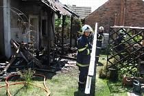 Jednotka dobrovolných hasičů při zásahu.