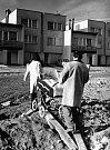 Výstavba v Mnichově Hradišti, snímek z roku 1975.
