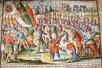 Akvarel rodové valdštejnské legendy - Jindřich z Valdštejna představuje Přemyslu Otakaru II. svých 24 synů.