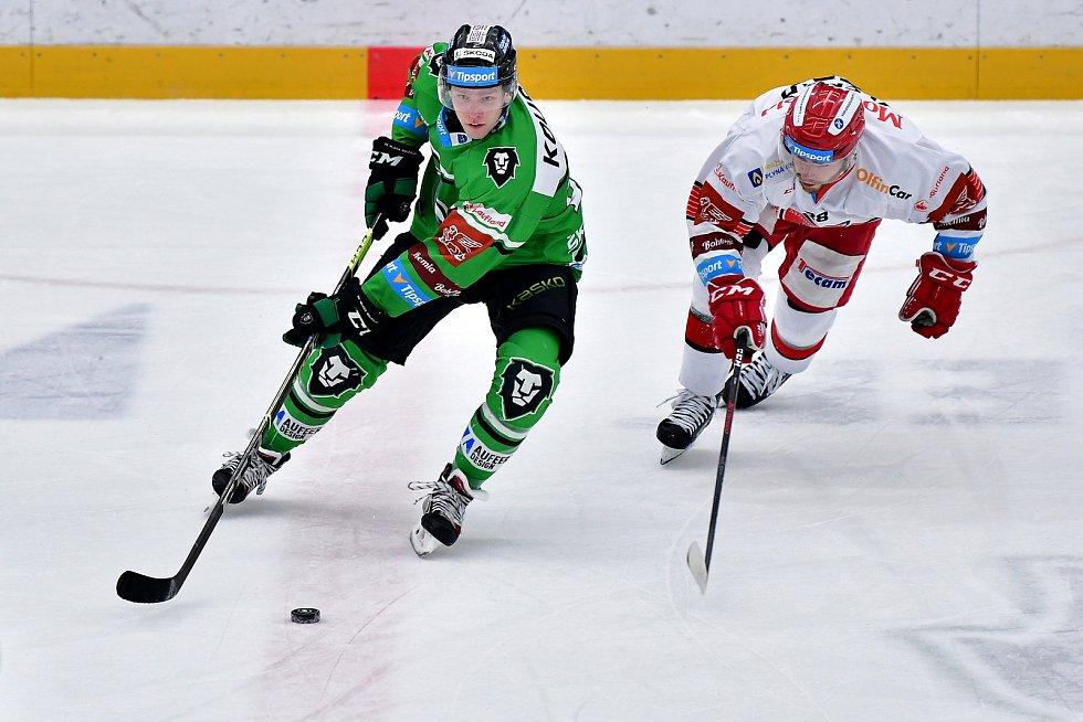 V zápase 50. kola hokejové extraligy porazili hráči BK Mladá Boleslav soupeře z Hradce Králové 4:2.