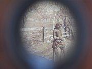 Detail pohledu přes stereoskop.