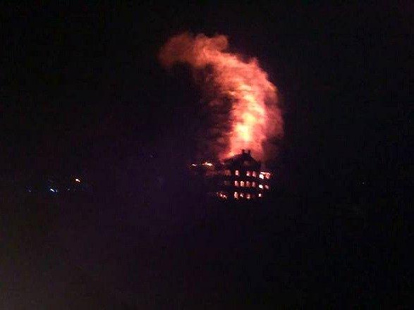 Požár mlýna v Krnsku.
