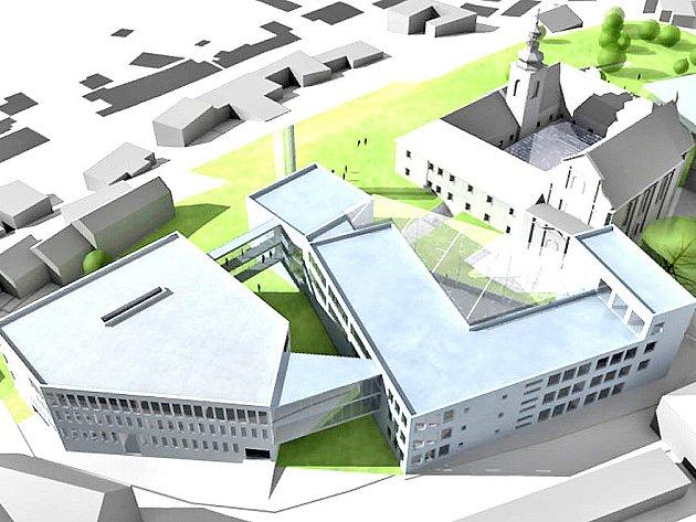 Maketa budoucího vysokoškolského areálu na Karmeli.