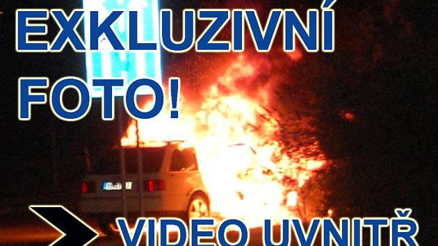 Požár vozu v Mladé Boleslavi.