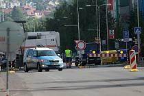 Ulice Na Radouči v Mladé Boleslavi během rekonstrukce.