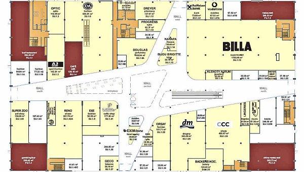 Spodní část Bondy centra bude patřit hlavně nakupování. Největší část zřejmě zabere supermarket Billa. Ten bude mít 1100metrů čtverečních. Dále tam bude obuv Reno, dva bary, restaurace, herna, cestovní kancelář Exim Tours, prodejna kávy, drogerie DM, Bonton land, banka a další.