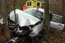 Dvě auta narazila na Mladobosleslavku do stromu na stejném úseku jen pár minut po sobě.