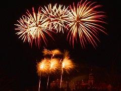 Novoroční ohňostroj v Benátkách.