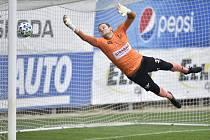 Mladá Boleslav - Pardubice 4:1. Brankář Pardubic Marek Boháč inkasuje branku.