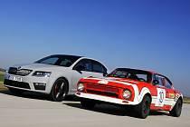 ŠKODA Octavia RS (2013) a ŠKODA 200 RS (1974) Nejrychlejší sériová Octavia všech dob – aktuální ŠKODA Octavia RS – po boku vozu, který odstartoval slavnou éru: ŠKODA 200 RS.