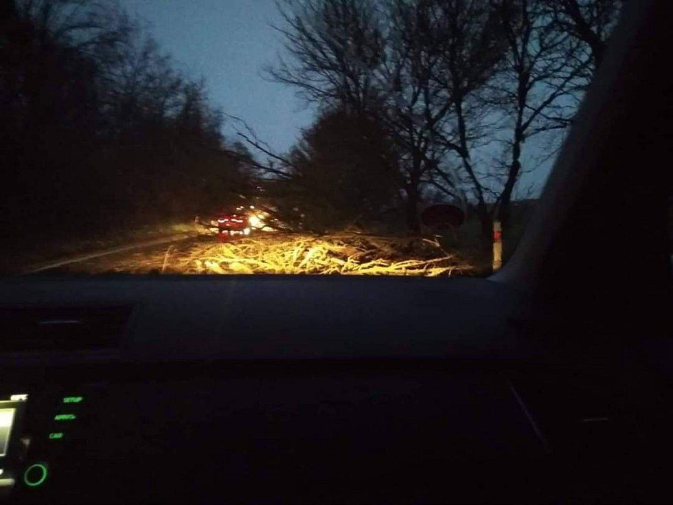 Popadané stromy mezi Beznem a Mělnickým Vtelnem ráno brzdily dopravu