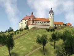 Zvířetice roku 1683 - ukázka z virtuální rekonstrukce zámku.
