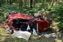 Těžká dopravní nehoda u obce Obrubce 18. července 2020.